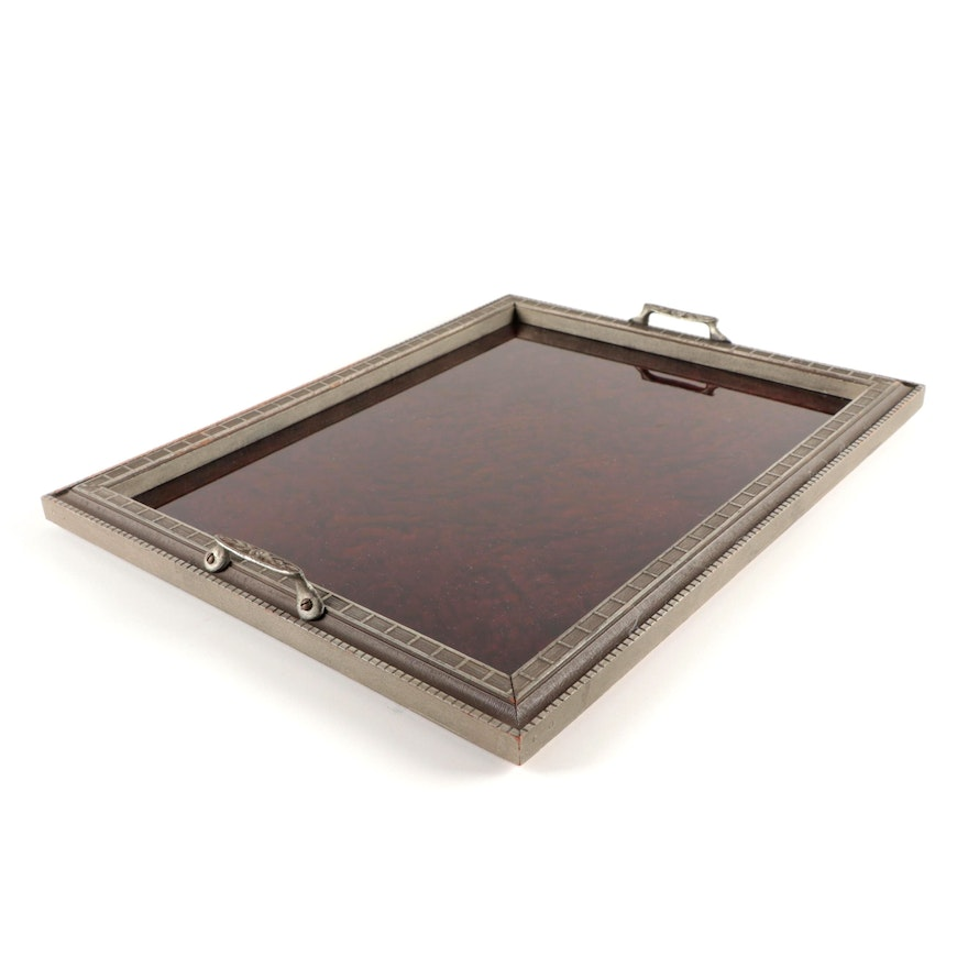 Art Deco Glass Top Wooden Frame Tray, Early to Mid 20th Century