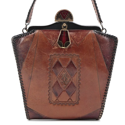 Nocona Bags Arts & Crafts Style Tooled Leather Frame Top Bag with Enamel Closure