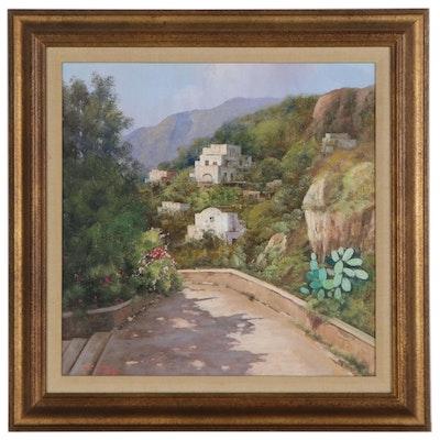 "Giuseppe Torella Oil Painting ""Path to Village,"" Late 20th Century"