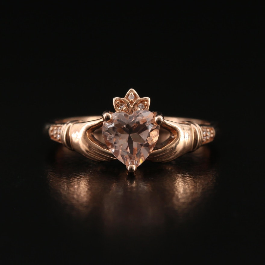 10K Diamond and Cubic Zirconia Claddagh Ring