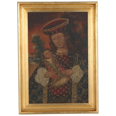 Cuzco School Style Oil Painting of Madonna and Child, Early 20th Century