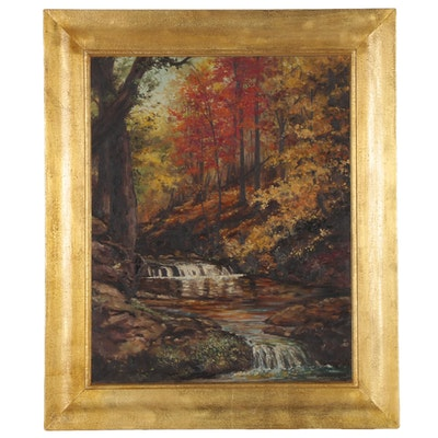 A. Lawrence Oil Painting of Autumnal Forest, 1968