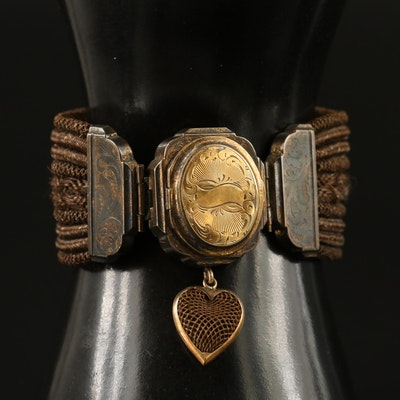 Early Victorian Braided Hair Mourning Locket Bracelet with 14K Accents