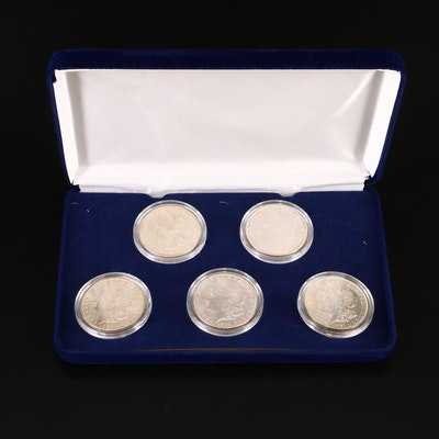 Uncirculated Morgan Silver Dollars in Velvet Display Box