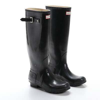 Hunter Original Gloss Tall Rain Boots in Black