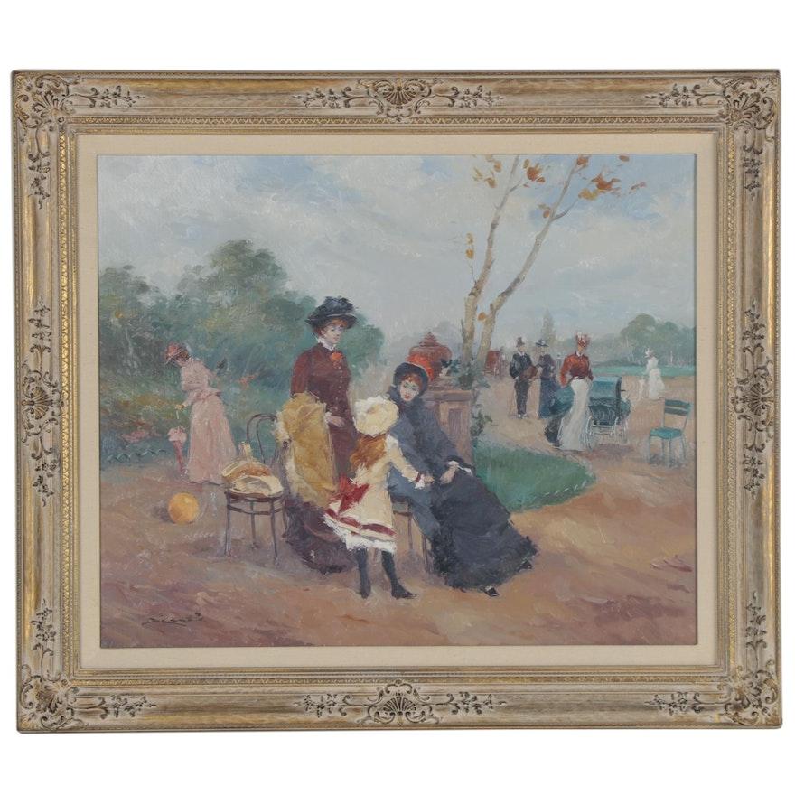 "Luis Sagasta Oil Painting ""In the Park"""