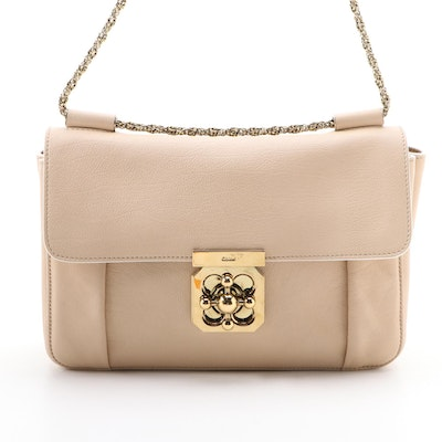 Chloé Elsie Shoulder Bag in Dune Grained Leather with Chain Strap