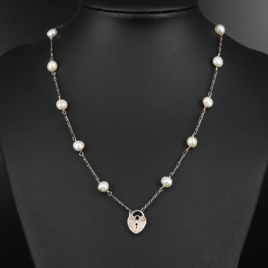 Sterling Silver Pearl Station Necklace with Heart Lock Pendant