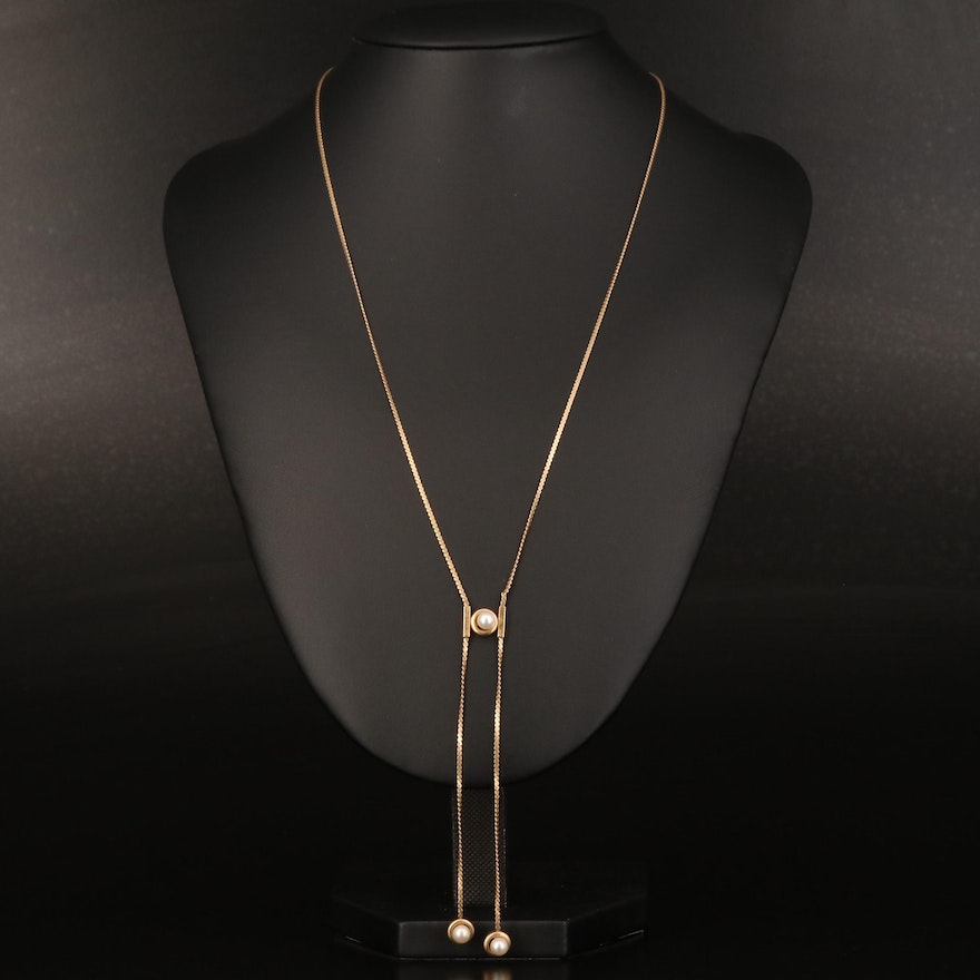 14K Pearl Negligee Style Necklace