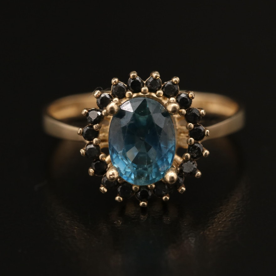 14K 1.89 CT Sapphire Ring with Black Diamond Halo