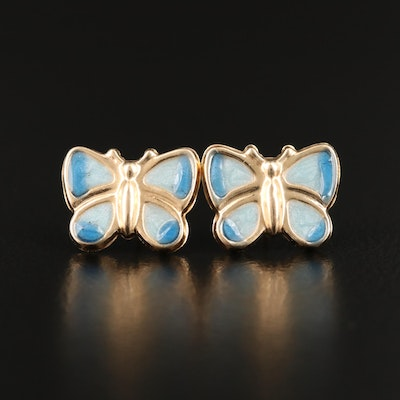 14K Enamel Butterfly Stud Earrings