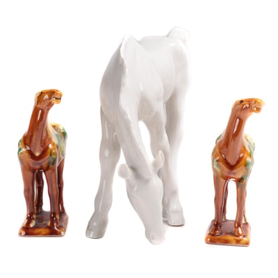 Lomonosov Porcelain Horse and Chinese Tang Style Sancai Glazed Horse Figurines