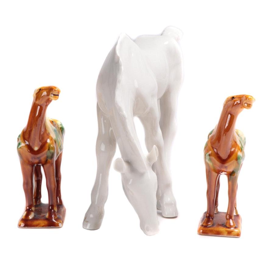 Lomonosov Porcelain Horse and Chinese Tang Style Sancai Glazed Horse Figurines