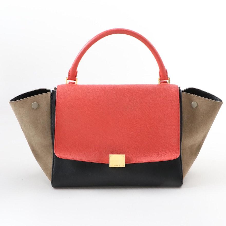 Céline Medium Tricolor Leather Trapeze Bag