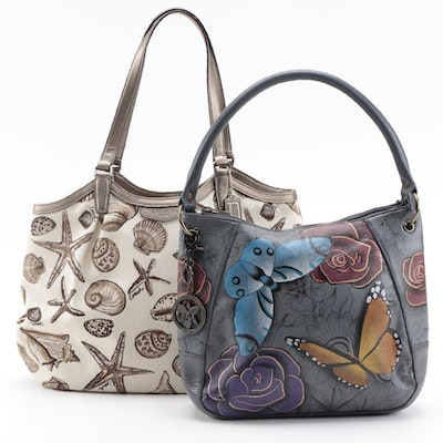 Coach Seashell Printed Canvas and Anuschka Hand-Painted Leather Shoulder Bags