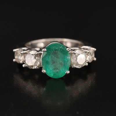 14K 2.46 CT Zambian Emerald and 1.68 CTW Diamond Ring with GIA Report