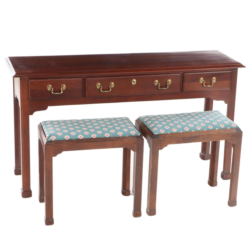 Link-Taylor Chippendale Style Mahogany Console Table with Two Stools