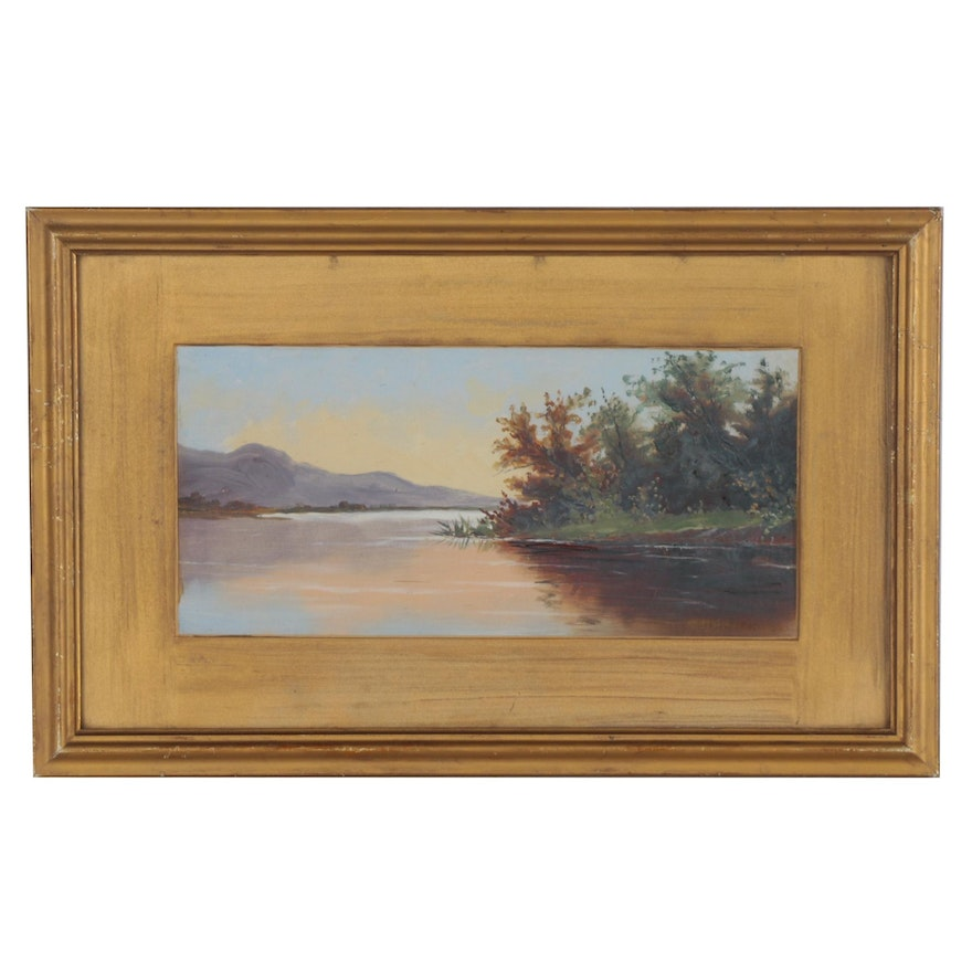Oil Painting of Lake Sunset, 20th Century
