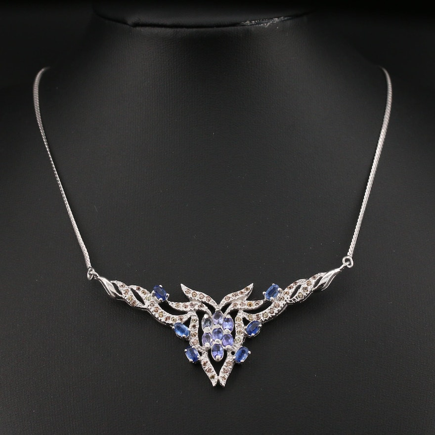 Sterling Silver Kyanite, Tanzanite and Topaz Necklace