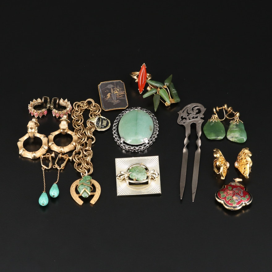 Vintage Jewelry Featuring Sterling Hair Accessory