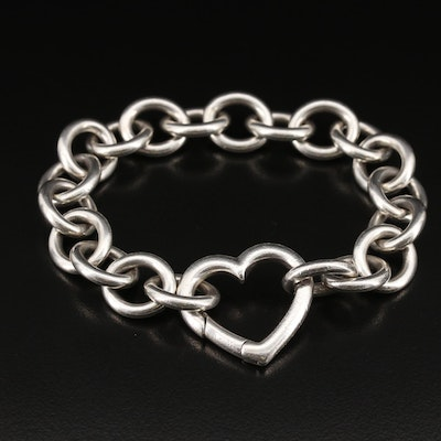 Tiffany & Co. Sterling Silver Open Heart Clasp Bracelet