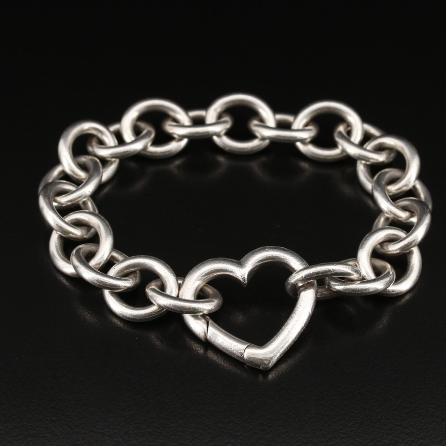 Tiffany & Co. Sterling Silver Open Heart Clasp Bracelet