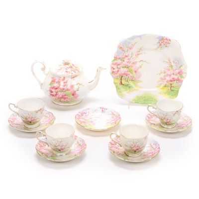 "Royal Albert ""Blossom Time"" Bone China Teapot, Cups and Saucers"