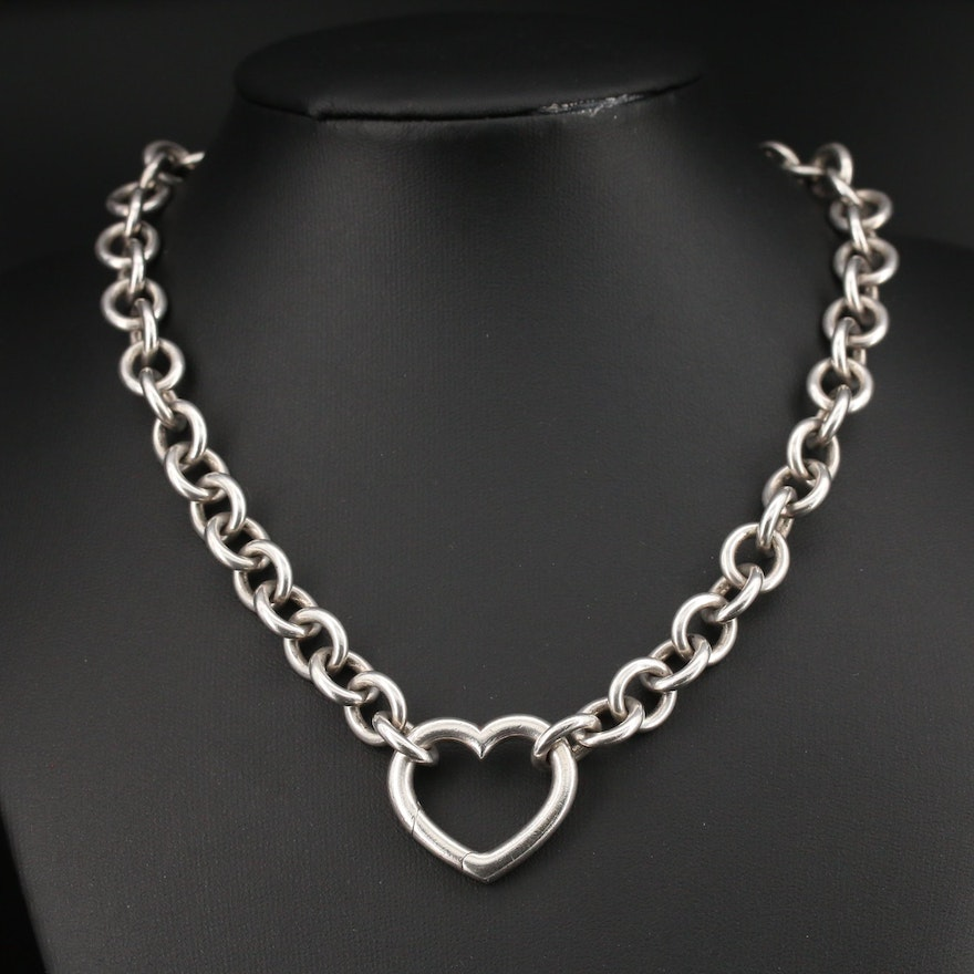 Tiffany & Co. Sterling Silver Open Heart Clasp Necklace