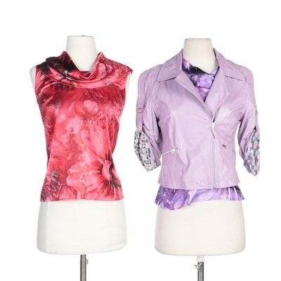 St. John Couture Drape Neck Blouses and St. John Sport Lilac Leather Jacket