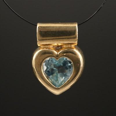 8K Topaz Heart Pendant