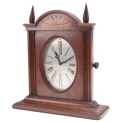 Waltham Walnut and Marquetry Slim Mantel Clock