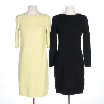 St. John Evening and St. John Collection Black and Light Chartreuse Knit Dresses