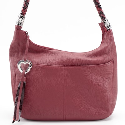 Brighton Barbados Ziptop Hobo Bag in Red Grained Leather with Braided Handle