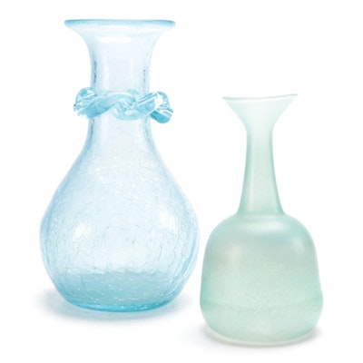 Blown Blue Crackle Glass Vase and Frosted Green Bud Vase, Late 20th Century