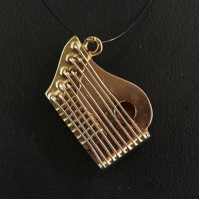 14K Tri-Color Zither Charm