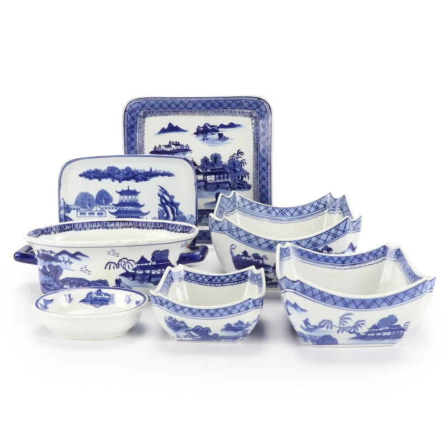 Chinese Canton Style Ceramic Tableware, Late 20th Century