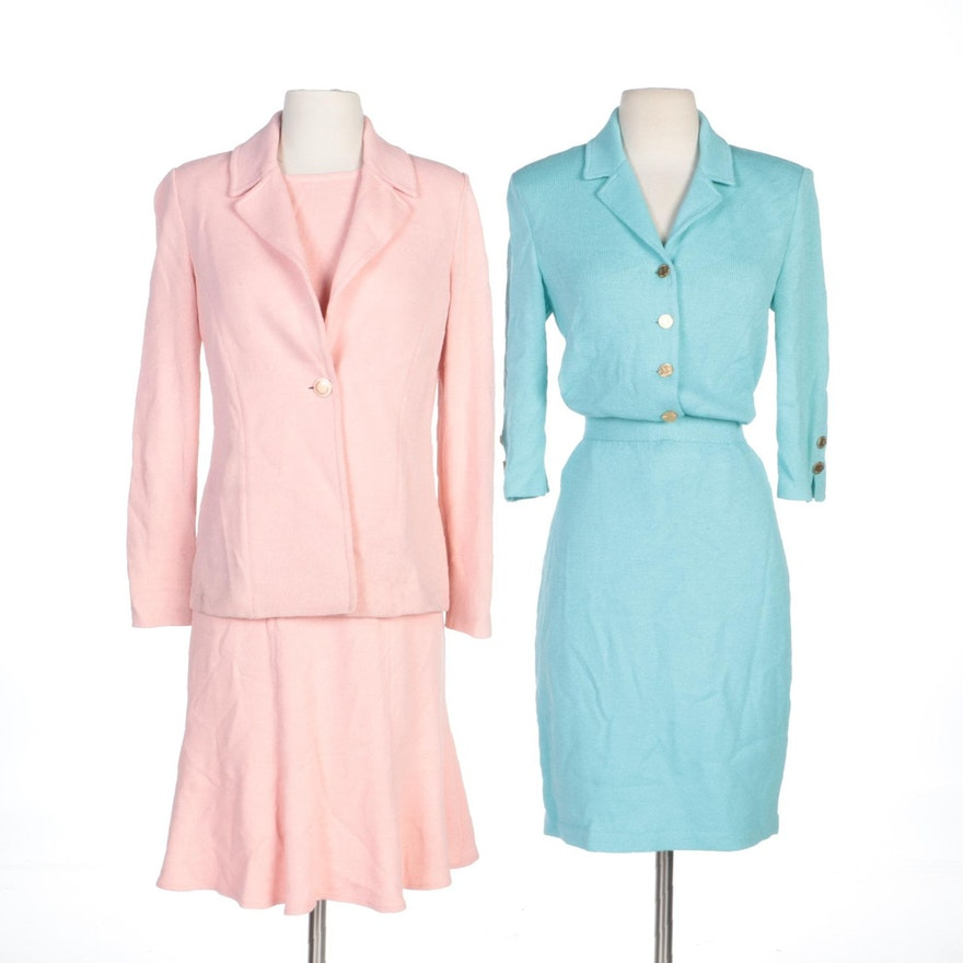 St. John Brand Blue and Pink Knit Skirt Suits and Separates