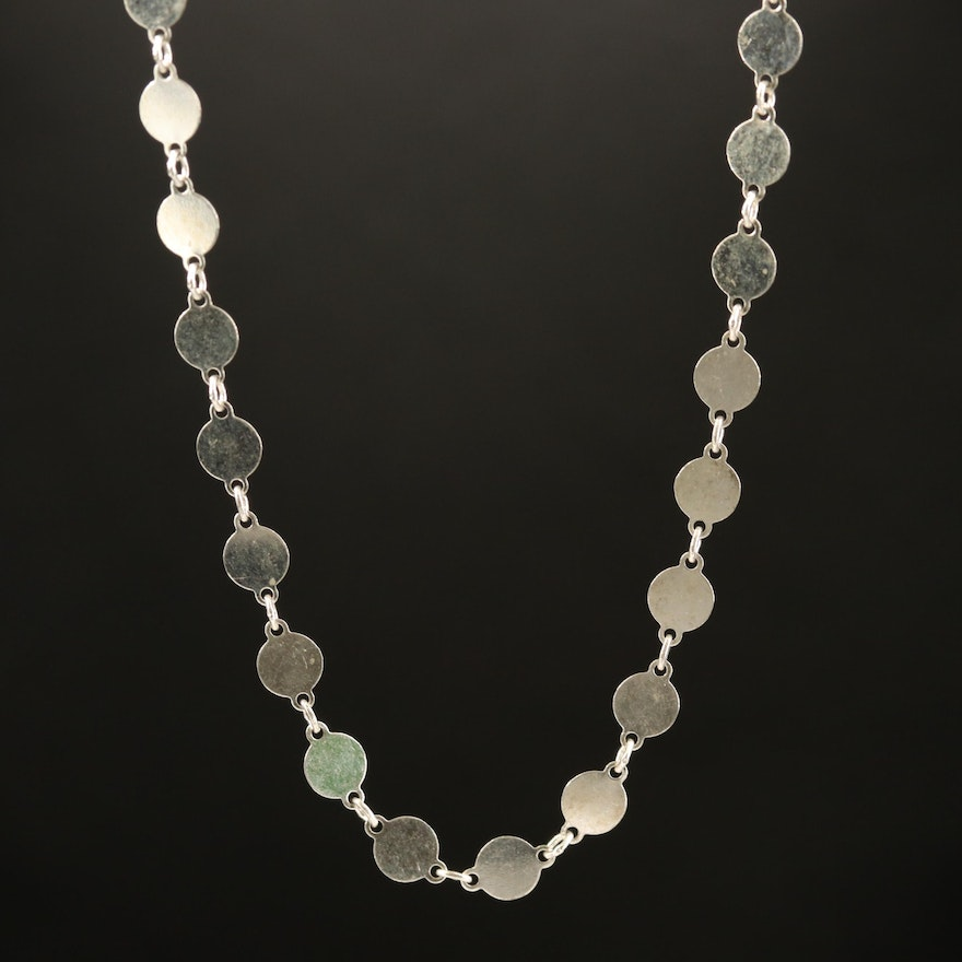 Sterling Disk Link Necklace