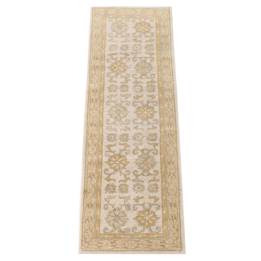 2'6 x 7'10 Hand-Tufted Ballard Designs Indian Floral Wool Carpet Runner