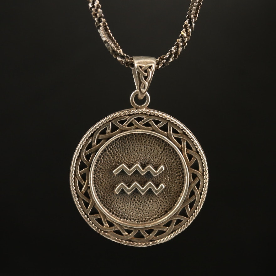Celtic Style Sterling Silver Aquarius Necklace