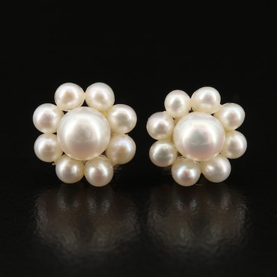 14K Pearl Baroque Cluster Earrings