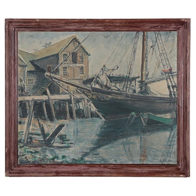 William Fisher Oil Painting of Harbor Scene, Early 20th Century