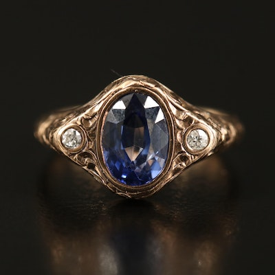 Edwardian 10K Sapphire and Diamond Ring with Engraved Foliate Pattern