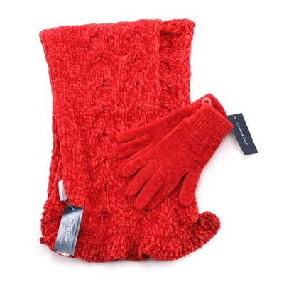 Charter Club Red Knit Scarf and Gloves
