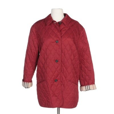 "Burberry London Red Quilted Jacket with ""Nova Check"" Lining"