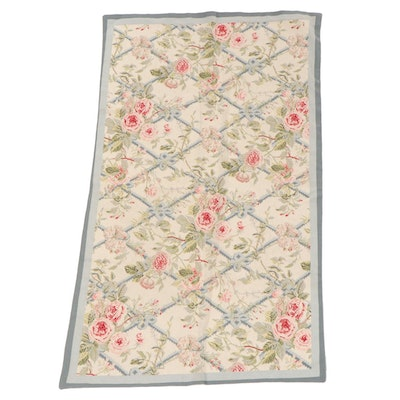 2'10 x 4'10 Imperial Elegance Chinese Floral Lattice Needlepoint Area Rug
