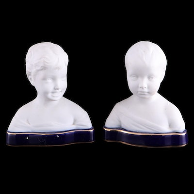 Sèvres Style French Limoges Bisque Porcelain Busts, Mid-20th Century