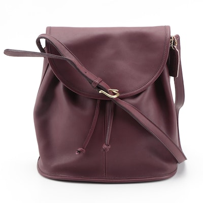 Coach Burgundy Leather Legacy Drawstring Flap Bag