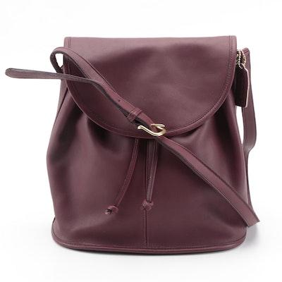 Coach Burgundy Leather Legacy Drawstring Flap Bag