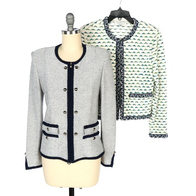 St. John Collection Milano Knit Navy Trimmed Jacket and Ivory Multicolor Jacket